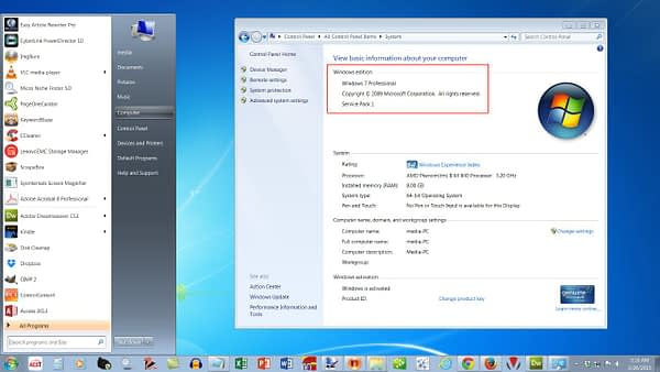 Image of Windows 7 Operating System