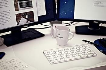 Desk with Computer Monitors