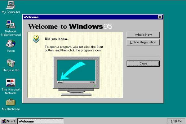 Image of Microsoft Windows 95 Screenshot