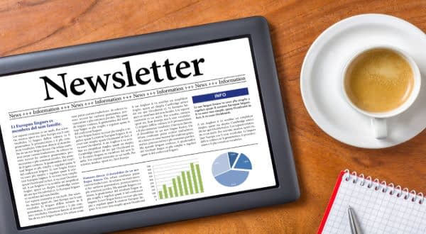 eNewsletter on a Tablet