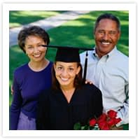 picture of graduate and parents